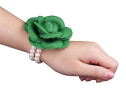 Aniwon Bride Accessories Wedding Bracelet Flower Corsage With Pearl Chain Party Decor Gift For Women