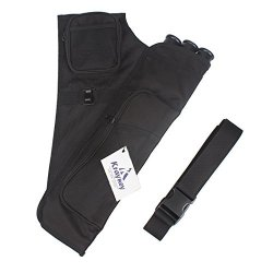 Kratarc 3-TUBES Hip Quiver Waist Hanged Camouflage Arrow Archery Carry Bag With Pockets Adjustable Belt Black