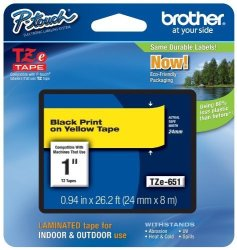 Brother Printer Brother Laminated Tape Black On Yellow 24MM TZE651 - Retail Packaging