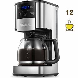Coffee Programmable Maker 12 Cups Glass Carafe With Keep Warming Pad Mid-brew Pause Machine With Strength Control And Permanent Filter Basket Anti-drip