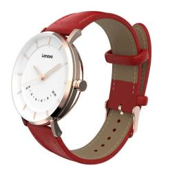 Lenovo Watch S Genuine Leather Strap Smart Watch Support Message Reminder Sleep Monitor Gesture Photo Sedentary Reminder Sport Tracking Red