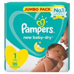 Pampers New Baby 96 Nappies Size 1 Jumbo Pack