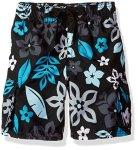 Kanu Surf Boys' Big Revival Floral Quick Dry Beach Board Shorts Swim Trunk Black Medium 10 12