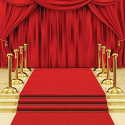 Sjoloon 10X10FT Red Carpet Stairs Star Photography Backdrop Red Curtain Background Hollywood Star Red Carpet Photo Background Vinyl Studio Props 11411