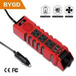 Bygd Car Power Inverter Outlet Adapter 150W 12V Dc To 110V Ac Converter With 3 Outlets And 2.4A Dual USB Ports Cigarette Lighter