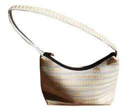 Full Funk Little Zip Hilltribe Silk Handbag 8X6 Inch Cream