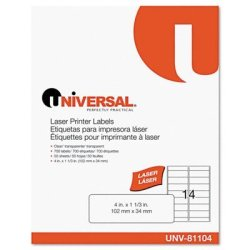 Universal Office Products Universal One Laser Printer Permanent Labels 1-1 3 X 4 Clear 700 BOX