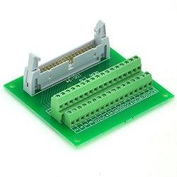 "Electronics-Salon IDC34 2X17 Pins 0.1"" Male Header Breakout Board Terminal Block Connector."
