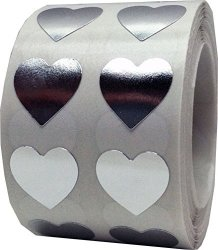 InStockLabels.com Metallic Silver Heart Stickers For Valentine's Day Crafting Scrapbooking 1 2 Inch 1 000 Adhesive Stickers
