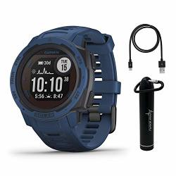 Instinct Garmin Solar Premium Gps Smartwatch With Included WEARABLE4U Power Bank Bundle Tidal Blue