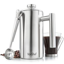 Vonshef 6 Cup French Press Brushed Stainless Steel Double Walled Cafetiere Coffee Maker With Spoon And Filter