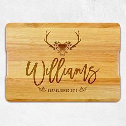 Personalized Chopping Board With Family Name Housewarming Gift - Custom Wooden Cutting Board Engraved Gift For Couple