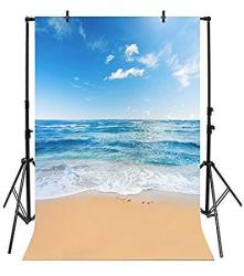 Yeele 8X10FT Seaside Beach Photo Backdrops Vinyl Blue Sky And White Clouds Clear Day Photography Background Summer Sea Sea Holiday Studio Props