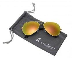 JF Store Wodison Classic Kids Aviator Sunglasses Reflective Metal Frame Children Eyeglass Silver Frame Blue Mix Green Lens