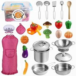 Tigerhu 26 Pieces Kids Kitchen Pretend Play Toys With Stainless Steel Cookware Pots And Pans Set Cooking Utensils Apron & Chef Hat And Cutting