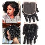 Molefi Brazilian Funmi Hair Closure 4X4 Inch Spiral Curl Funmi Hair Lace Closure 100% Virgin Human Closure Hair Extensions Natur