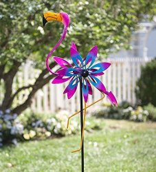 Plow & Hearth Outdoor Flamingo Metal Garden Wind Spinner Sculpture With Bobble Accents 21 L X 6.5 W X 68 H