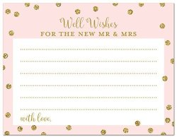 48 Cnt Well Wishes Cards For Mr And Mrs Faux Gold Glitter On Pink