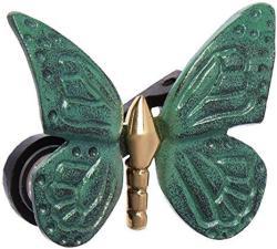 Monarch Butterfly Doorbell Ringer - Brass green Patina