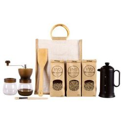 Ryo Coffee Ultimate Craft Coffee Home Starter Kit - French Press 3 X 300G Unroasted Beans Brown Manual Grinder Set