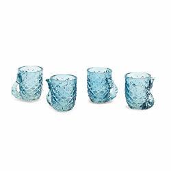 Two's Company Set Of 4 Glass Shot Glasses Mermaid