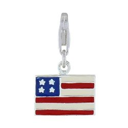 Les Poulettes Jewels - Sterling Silver Charms Flag Of The United States