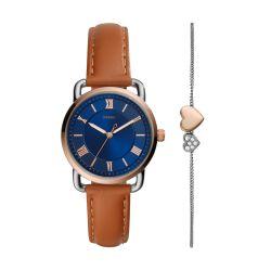 Fossil Women Copeland Brown Round Leather Watch - ES4913SET