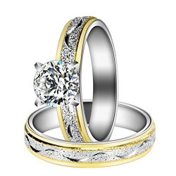 MDFUN 18K White Gold Plated Cubic Zirconia Promise Halo Engagement Promise Eternity Ring for Women