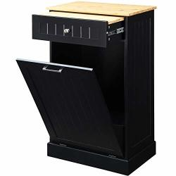 Seven Oaks Tilt Out Free Standing Kitchen Trash Or Recycling Cabinet With Drawer Removable Bamboo Cutting Board Black