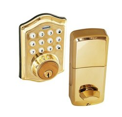 HONEYWELL 8712009 Electronic Entry Deadbolt With Keypad Polished Brass