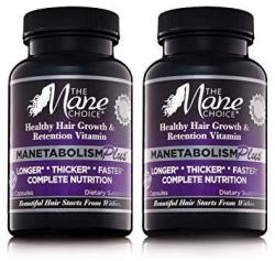 The Mane Choice Manetabolism Plus Healthy Hair Growth Vitamins 60 Capsules - Pack Of Two - Complete Nutrition Supplements For Lo
