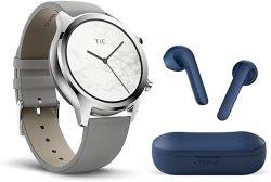 TICWATCH Bundle With C2 Smartwatch Classic Design Gps Nfc IP68 Waterproof - Platinum + Ticpods 2 True Wireless Earbuds - Navy