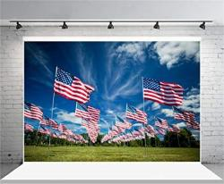 Aofoto 12X8FT American Flag Patriotic Photography Background Fourth Of July Independence Day Backdrop Usa Stars And Stripes Adult Kid Boy Soldier Port