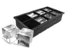 Gin Tribe - Large 8 Mega-ice Hole Silicone Gin Whisky & Brandy Ice Cube Tray - Black - G