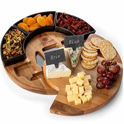Round Cheese Board And Knives Set Acacia Wood Bowl & Wooden Charcuterie Boards For Cutting Meat Cheeses And Wine - Appetizer Serving Tray With