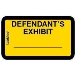 "Tabbies Exhibit Labels Defendant's Exhibit Yellow 1-5 8"" X 1"" 252 Labels Per Package"