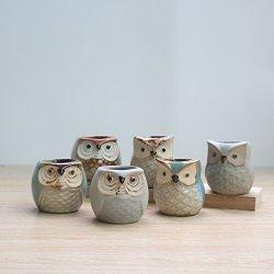 Nwfashion Flower Pot Succulent Plants Cute Owl Animal Flower Container Decoration Set Grey Owl