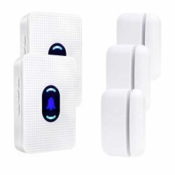 Daytech Door Open Entrance Chime Entry Alert Wireless Door Sensor For Business Home Garage Retail Store Apartment Office 2 Receiver + 3 Magnetic Sensor