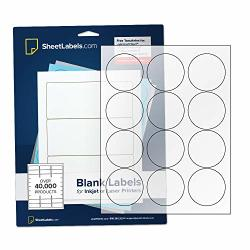 """2.5"""" Clear Round Labels Inkjet Or Laser Printable Crystal Clear Gloss - 300 Labels"""