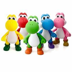 13CM Super Mario Bros Yoshi Dinosaur Pvc Action Figurine Toy Cake Toppers 5 Set