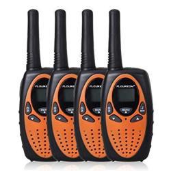 Floureon 22 Channel Frs gmrs 2 Way Radio Up To 3000M 1.9MI Range Max 5000M 3.1MI Uhf Handheld Walkie Talkie Pack Of 4 Black Oran