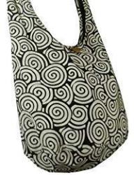 BTP Hippie Hobo Cotton Sling Crossbody Bag Messenger Purse Swirl Printed In White On Black SW4