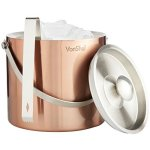 VonShef 3 Liter Copper Stainless Steel Ice Bucket Barware Kit - Double Walled Insulated With Lid Carry Handle & Tongs Set
