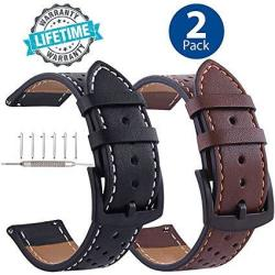 Galaxy Watch 46MM Leather Bands Quick Release Black Buckle 22MM Watchband Replacement Strap Business Bracelet For Samsung Gear S