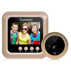 Danmini Q5 Pir 2.4 Inch Screen 2.0MP Security Camera No Disturb Peephole Viewer Support Tf Card Night Vision Pir Motion Detection Body Sensor Video Recording Gold