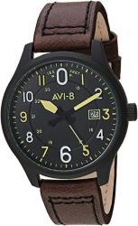AVI-8 Men's AV-4053 Hawker Hurricane Altimeter Edition Stainless Steel Japanese-quartz Aviator Watch With Leather Strap