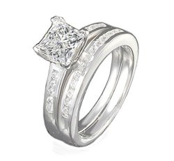6989547d03ba9 RussianHeartsDiamonds Venetia Supreme Top Grade Realistic 1 Carat Princess  Cut Simulated Diamond Ring Band Set 925 Silver Platin | R1700.00 | Fancy ...