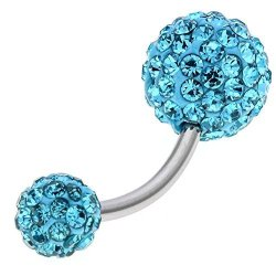 Lubingshine 14g Stainless Steel Crystal Disco Ball Belly Button Rings Body Piercing Navel Bars Aqua Blue R475 00 Fancy Dress Costumes