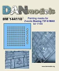USA Dan Models 144110-1 144 Painting Masks For Zvezda Boeing 737-8 Max Scale