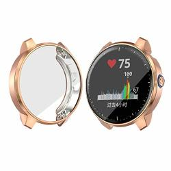 Landhoo Garmin Vivoactive 3 Music Case Soft Tpu Plated Case All-around Protector Screen Cover Bumper For Garmin Vivoactive 3 Music Smart Watch Rose Gold